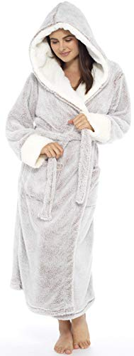 KATE MORGAN Ladies Soft & Cosy Long Pile Hooded Dressing Gown 7
