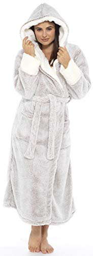 KATE MORGAN Ladies Soft & Cosy Long Pile Hooded Dressing Gown 8
