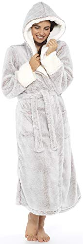 KATE MORGAN Ladies Soft & Cosy Long Pile Hooded Dressing Gown 9