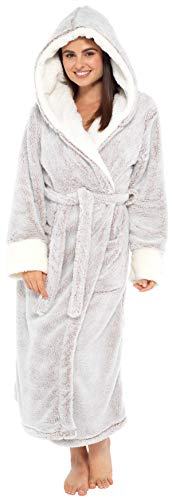 KATE MORGAN Ladies Soft & Cosy Long Pile Hooded Dressing Gown 1
