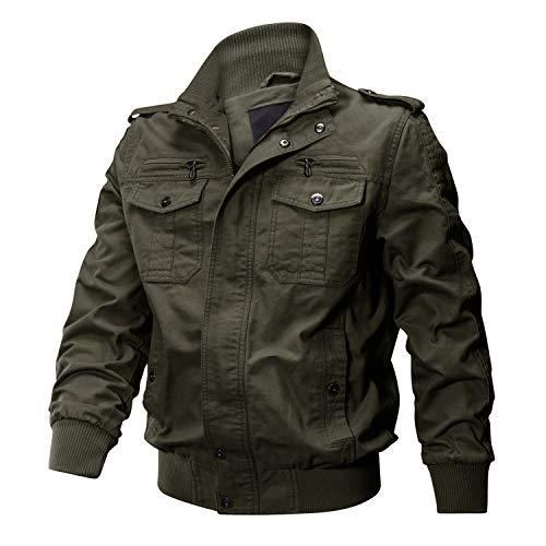 KEFITEVD Men's Casual Cargo Jacket Autumn Military Bomber Jackets Windbreaker Coat 3