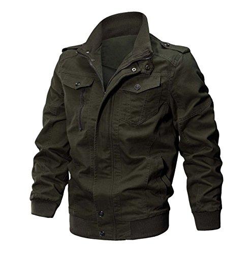 KEFITEVD Men's Cotton Windbreaker Jacket Military Zipper Bomber Cargo Outwear Jackets Coat 3
