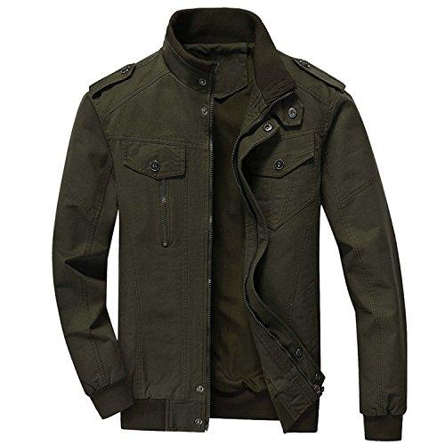 KEFITEVD Men's Cotton Windbreaker Jacket Military Zipper Bomber Cargo Outwear Jackets Coat 4