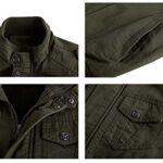 KEFITEVD Men's Cotton Windbreaker Jacket Military Zipper Bomber Cargo Outwear Jackets Coat 20