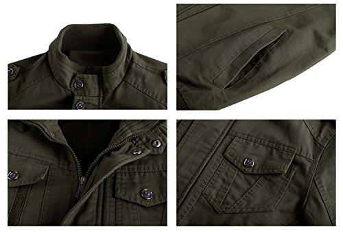 KEFITEVD Men's Cotton Windbreaker Jacket Military Zipper Bomber Cargo Outwear Jackets Coat 5