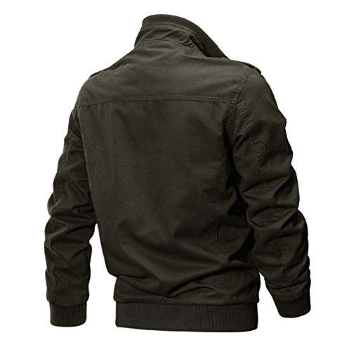 KEFITEVD Men's Cotton Windbreaker Jacket Military Zipper Bomber Cargo Outwear Jackets Coat 7