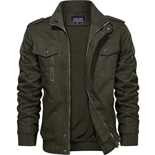 KEFITEVD Men's Cotton Windbreaker Jacket Military Zipper Bomber Cargo Outwear Jackets Coat 1