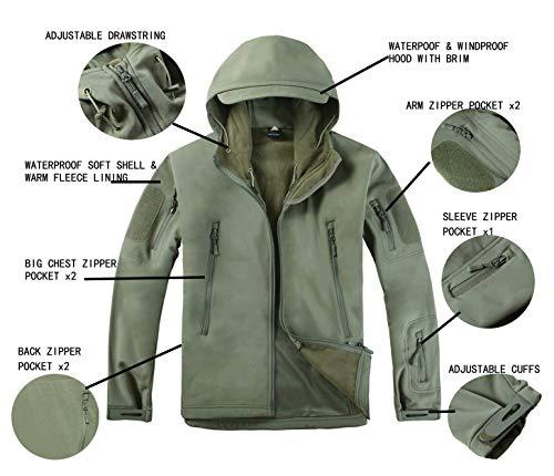 KEFITEVD Men's Waterproof Military Combat Jacket Tactical Soft Shell Fleece Jackets with Multi Pockets 4
