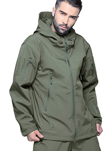 KEFITEVD Men's Waterproof Military Combat Jacket Tactical Soft Shell Fleece Jackets with Multi Pockets 5