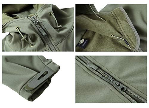 KEFITEVD Men's Waterproof Military Combat Jacket Tactical Soft Shell Fleece Jackets with Multi Pockets 6
