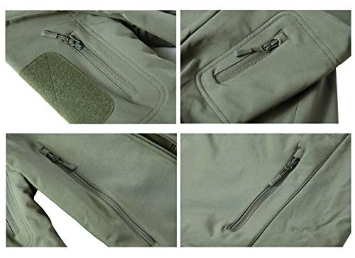KEFITEVD Men's Waterproof Military Combat Jacket Tactical Soft Shell Fleece Jackets with Multi Pockets 8