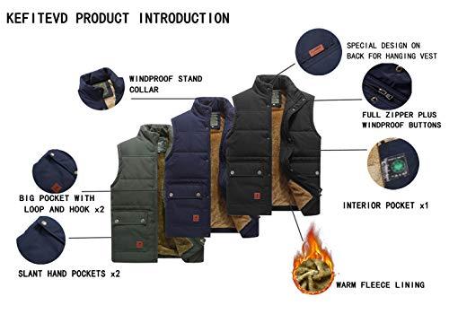 KEFITEVD Men's Winter Fleece Fishing Body Warmer Warm Windproof Gilet Outdoor Photography Vest with Multi Pockets 3