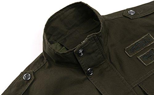 KEFITEVD Men's Winter Fleece Jacket Warm Cargo Stand Collar Military Thicken Cotton Jackets Coat 3