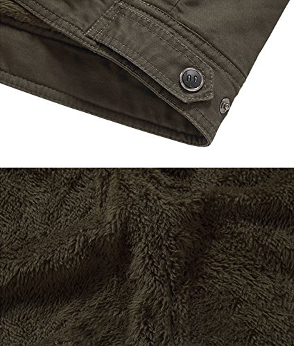 KEFITEVD Men's Winter Fleece Jacket Warm Cargo Stand Collar Military Thicken Cotton Jackets Coat 6