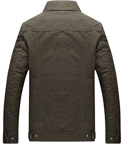 KEFITEVD Men's Winter Fleece Jacket Warm Cargo Stand Collar Military Thicken Cotton Jackets Coat 7
