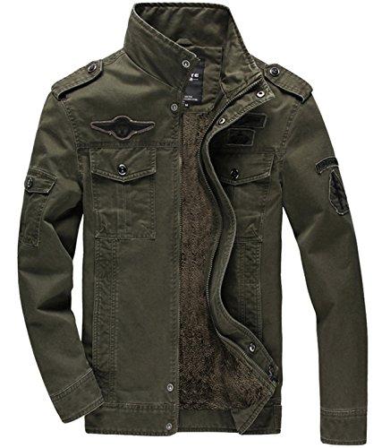 KEFITEVD Men's Winter Fleece Jacket Warm Cargo Stand Collar Military Thicken Cotton Jackets Coat 1