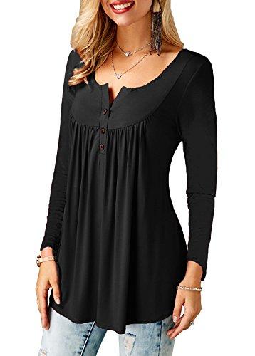 KISSMODA Ladies Shirts Ruffle Loose Button up Tunic Tops for Women 3