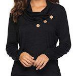 KISSMODA Womens T-Shirt Long Sleeve Sweatshirt Solid Color Casual Blouses Tops 16