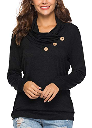 KISSMODA Womens T-Shirt Long Sleeve Sweatshirt Solid Color Casual Blouses Tops 3