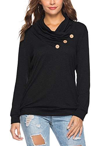 KISSMODA Womens T-Shirt Long Sleeve Sweatshirt Solid Color Casual Blouses Tops 5
