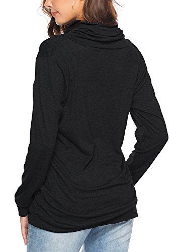 KISSMODA Womens T-Shirt Long Sleeve Sweatshirt Solid Color Casual Blouses Tops 6