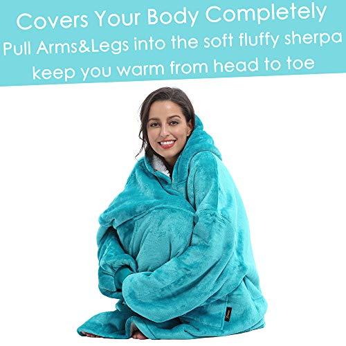Kato Tirrinia Hoodie Blanket, Oversized Sherpa Sweatshirt, Super Soft Warm Wearable Blanket, Comfortable Giant Hoody… 3
