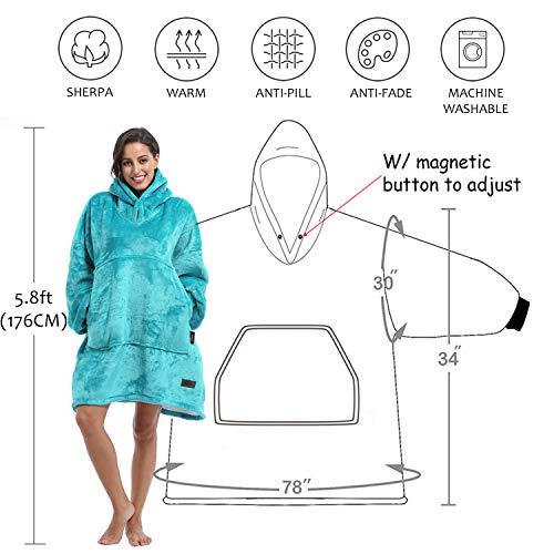 Kato Tirrinia Hoodie Blanket, Oversized Sherpa Sweatshirt, Super Soft Warm Wearable Blanket, Comfortable Giant Hoody… 6