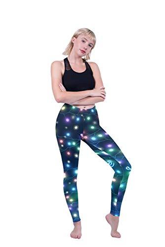 Kukubird Loungewear Christmas Winter Snowflake Santa Reindeer Stocking-Filler Women's Yoga Leggings Gym Fitness Running… 3