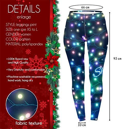 Kukubird Loungewear Christmas Winter Snowflake Santa Reindeer Stocking-Filler Women's Yoga Leggings Gym Fitness Running… 4