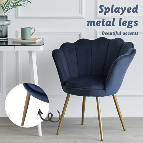 LEPAK Blue Velvet Chair Upholstered Shell Chair,Accent Chair Leisure Tub Chair Occasional Armchair for Living Room Cafe… 3