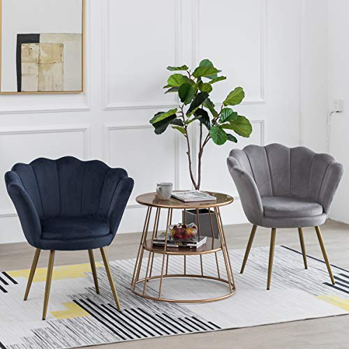 LEPAK Blue Velvet Chair Upholstered Shell Chair,Accent Chair Leisure Tub Chair Occasional Armchair for Living Room Cafe… 6