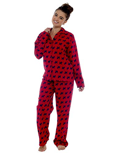 Ladies Comfy Pyjamas Women Soft Fleece Lounge Wear   Embroidered or Traditional Brushed Pjs with Long Sleeve   Perfect… 4