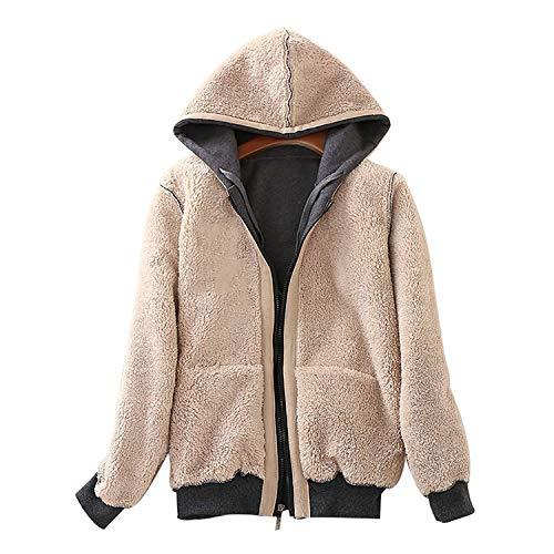 Ladies Plain Hoodie Winter Warm Fleece Lined Zip Up Jacket Coat for Women 3