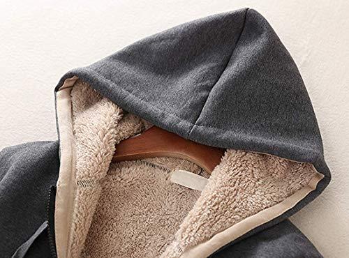 Ladies Plain Hoodie Winter Warm Fleece Lined Zip Up Jacket Coat for Women 4