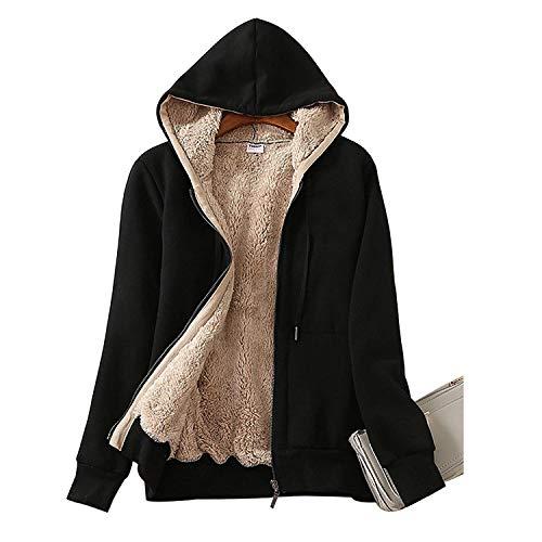 Ladies Plain Hoodie Winter Warm Fleece Lined Zip Up Jacket Coat for Women 1