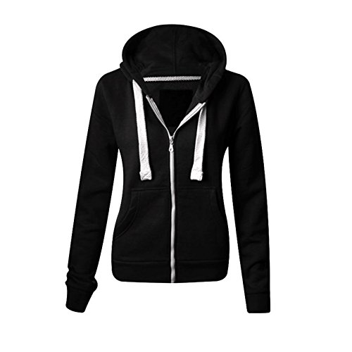 Ladies Plain Zip Up Hoodie Womens Fleece Hooded Top Long Sleeves Front Pockets Soft Stretchable Comfortable Plus Sizes… 1