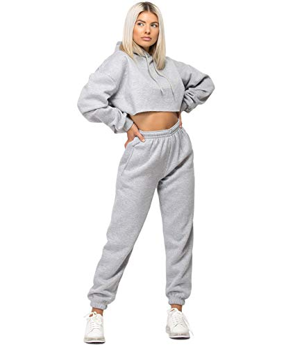 Lexi Fashion Womens Tracksuit Oversize Crop Hoodie Joggers Loungewear Set 3