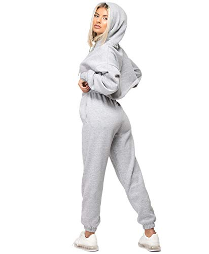 Lexi Fashion Womens Tracksuit Oversize Crop Hoodie Joggers Loungewear Set 4