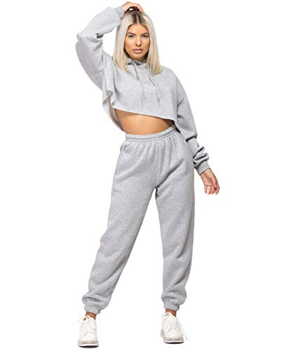 Lexi Fashion Womens Tracksuit Oversize Crop Hoodie Joggers Loungewear Set 1