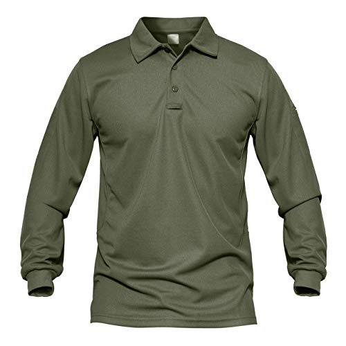 MAGCOMSEN Men's Quick Dry Long Sleeve Polo Shirts for Casual Military Golf Hiking 1