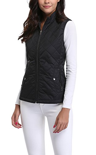 MISS MOLY Women's Stand Collar Lightweight Quilted Vest Jacket 3