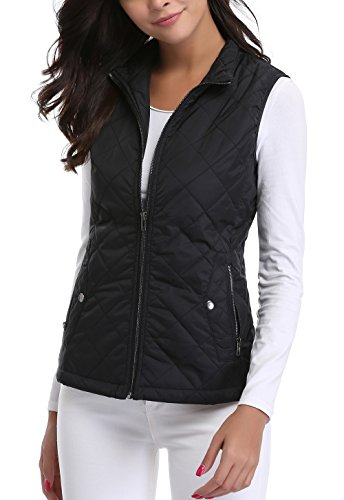 MISS MOLY Women's Stand Collar Lightweight Quilted Vest Jacket 1