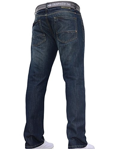 Mens Crosshatch Classic Straight Leg Regular Fit Stylish Denim Jeans All Waist Sizes Belted 3
