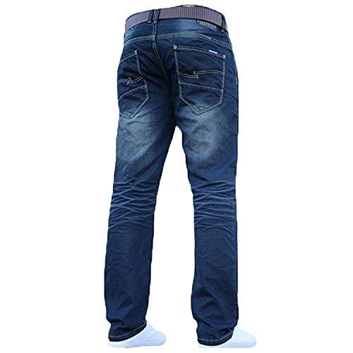 Mens Crosshatch Classic Straight Leg Regular Fit Stylish Denim Jeans All Waist Sizes Belted 6