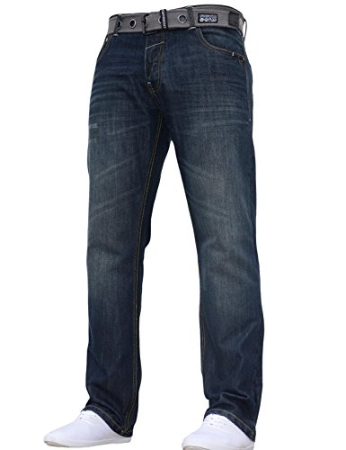 Mens Crosshatch Classic Straight Leg Regular Fit Stylish Denim Jeans All Waist Sizes Belted 1