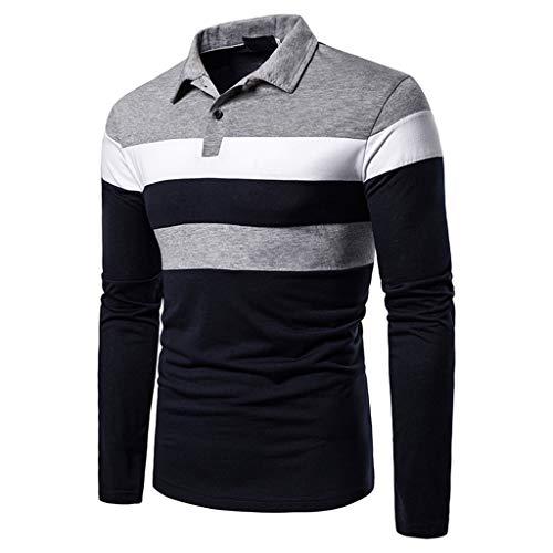 Men's Long Sleeve Polo Shirt Stripe Casual T-Shirts Rugby Tennis Golf T-Shirts Tops 3