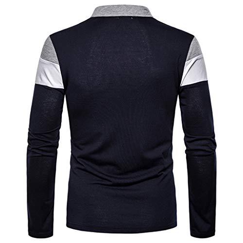 Men's Long Sleeve Polo Shirt Stripe Casual T-Shirts Rugby Tennis Golf T-Shirts Tops 4