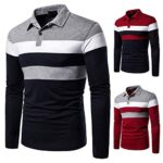 Men's Long Sleeve Polo Shirt Stripe Casual T-Shirts Rugby Tennis Golf T-Shirts Tops 21