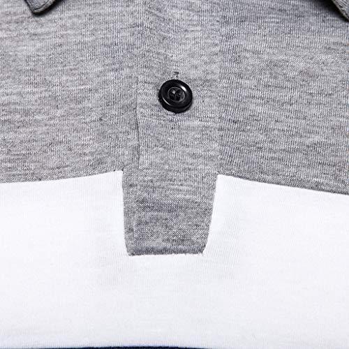 Men's Long Sleeve Polo Shirt Stripe Casual T-Shirts Rugby Tennis Golf T-Shirts Tops 8