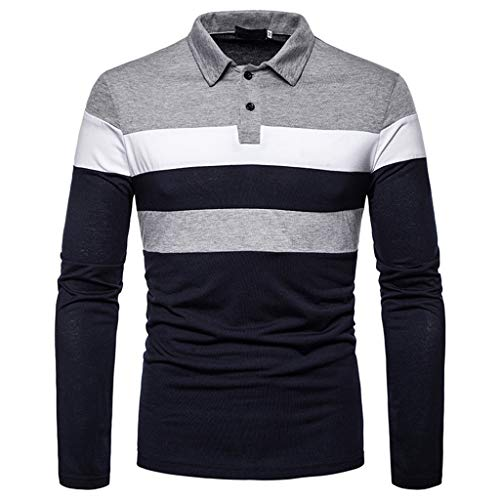 Men's Long Sleeve Polo Shirt Stripe Casual T-Shirts Rugby Tennis Golf T-Shirts Tops 1